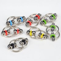 Wholesale stress relieving metal online - Fidget Spinneres Key Chain Key Ring Stress Relieve Buckle Cellphone Charms Metal Hand Spinner Fidget Toys Bicycle Chain