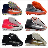 Wholesale Cheap Black High Top Shoes - Wholesale Cheap High Top Mens Soccer Shoes Mercurial Cr7 Superfly V Fg Sport Football Boots Youth Men Outdoor Soccer Cleats Free Shipping