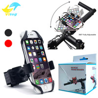 Wholesale Universal Motorcycle Handlebars - Universal Bike Bicycle Motorcycle Handlebar Mount Holder Phone Holder With Silicone Support Band For Iphone 6 7 plus Samsung s7 s8 edge