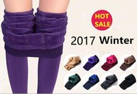 Wholesale Plus Size Thick Tights - 2017 new fashion women's autumn winter high elasticity and good quality leggings thick velvet pants fitness plus size free shipping