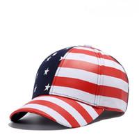 Wholesale Tall Stars - 2017 New Unisex Printing American Flag Baseball Cap Women Curved Striped Brim Hip Hop Caps Men Stars Gorras Snapback Hats