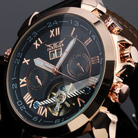 Wholesale New Jaragar Watches - Fashion Mens Brand Watches Date Leather Tourbillon Flywheel Auto Mechanical Men Watch Wristwatch 2017 New JARAGAR Drop Shipping