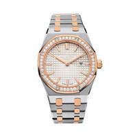 relojes antiguos de plata de las mujeres al por mayor-Relojes de lujo de las mujeres de 33 mm clásico modelo de pulsera antiguos de alta calidad de oro / plata de cuarzo del acero inoxidable de la señora relojes con Diamo