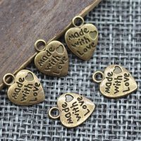 Wholesale 12mm Shaped Beads - 9*12MM 50pcs lot Heart Shape Vintage Charms Silver Bronze Plated MADE WITH LOVE CZ Pendants Necklace&Bracelet Diy Pendants Beads