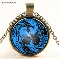 Wholesale yin yang pendants - Wholesale- Blue Dragon and the yin and Yang taiji time gem pendant necklace glass necklace Europe new