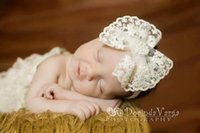 Wholesale Korean Big Bow Headband - Baby Girls hair band children lace big BOW accessories korean style lace embroidery pearl headdress 2017 new photography accessories T0607