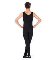 Wholesale Black Tight Jumpsuits - One Piece Black Tank Unitard Men Lycra Ballet Sleeveless Full Body Tight Jumpsuit Unitards Dance Costumes Unitards Bodysuit