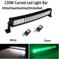 "Wholesale Green Atv Light Bar - White  Green Color Stroboflash 22"" 120W Led Curved Work Light Bar Spot Flood Combo Beam for OFFROAD ATV SUV JEEP TRUCK HUNTING"