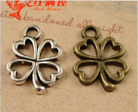 Wholesale Leaf Necklace Bronze - 14*13MM Antique Bronze alloy lucky clover charms for bracelet, vintage metal pendants for necklace, tibetan silver Four Leaf jewelry making