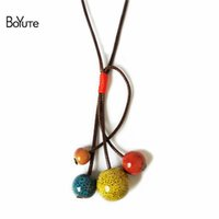 Wholesale Ceramic Jewelry Pendants - BoYuTe (5 Pieces Lot) Glaze Ceramic Beads Pendant Necklace Women Vintage Jewelry Independent Packing Bubble Bag For Protection