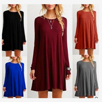 Wholesale Colthes Woman - Women Colthes Loose Shirt Dress long sleeve crew neck dresses casual dresses 8 colors free shipping