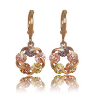 Wholesale gold filled clear - (382E)2017 NEW 18k Yellow Gold Filled Lucky Rotating Earrings Drop Women Multicolor Clear Europe Style High quality AAA+ Zircon