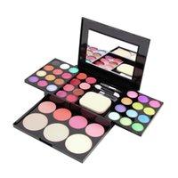Wholesale Sale Free Shipping Worldwide - Wholesale- Make Up Palette Set Eyeshadow Lip Gloss Foundation Powder Blusher Puff Tool free shipping 2016 Hot Worldwide sale
