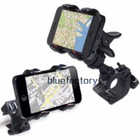 Wholesale Iphone Bracket For Bicycle - Universal Bike Bicycle Mount 360 Degree Rotatable Rotation adjustable Bracket Holder Dual Clip Handlebar for iphone 7 Samsung Cell phone GPS