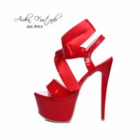 Wholesale high heels 16cm - 2017 summer shoes for women ankle strap sexy platform extreme high heels party shoes woman girls red white black 16cm lace up