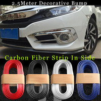 Wholesale Car Door Anti Collision - TOP AUTO 250cm Fit all car styling outside carbon fiber Rubber Car Front bumper Strips Lip Kit protection anti collision decoration strips