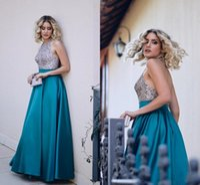Wholesale Turquoise Blue Evening Dress - 2018 Sparkly Beaded Halter Satin Evening Dresses Turquoise Green Backless Long Prom Dresses Floor Length Formal Evening Dresses