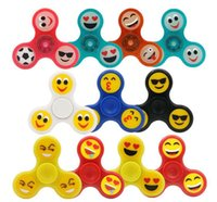 Wholesale Spinning Glow Toys - 2017 Hot selling Glow Emoji Fidget Spinners Triangle Design Hand Spinner EDC Toys For Decompression Anxiety Stainless Steel Spinning Top