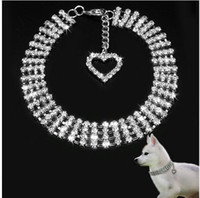 Wholesale Large Pink Rhinestone - New listing !luxury sparkling 4 row rhinestone crystal dog necklace collar for pets Jeweled white pink blue color available 10pcs lot
