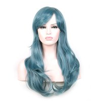 Wholesale wigs rose red - Rose red wig hair 65cm long curly wigs synthetic wigs heat resistant fiber smoke blue wig women synthetic