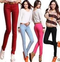 Großhandels- WOMENS SEXY SOLID STRETCH CANDY FARBIGE SLIM FIT SKINNY PANT HOSE HEISS