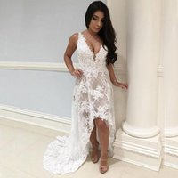 Wholesale Nude Color Sheer Sequin Dresses - 2017 High Low Beach Wedding Dress Country Short Front Long Back V Neck Sleeveless Lace Appliques Ivory Nude Lining Bridal Gowns