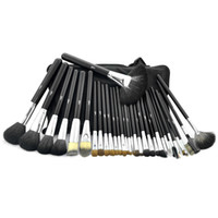 STBA32b black mink animal - 32 set High Quality Professional maquiagem Makeup Brushes Set Soft Animal Hair With PU Leather Belt case make up brushes set For Fashion