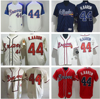 Wholesale Drop Shipping Shirts - Atlanta Braves baseball jersey Outfielder #44 Hank Aaron the hall of famer cool Base Jerseys embroidery shirt throwback free drop shipping