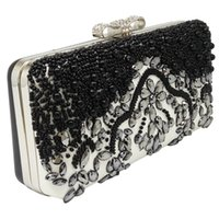 Vintage Black and Grey Beaded Patchwork Femme Evening Clutch Bags Nuptiale Mariage Party Sacs à bandoulière Bolsos Mujer