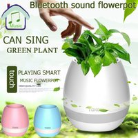 Wholesale Wholesale Piano Music Box - Originality Bluetooth Speaker Smart Music Flowerpot Plant Piano Interaction Speaker With Colorful Led Light Touch Sensor Retail Box DHL