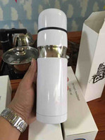 eğitim c toptan satış-Moda C saf beyaz tasarım gıda sınıfı paslanmaz çelik vakum bardak mermi tren çift katlı 24 h vakum bardak VIP hediye ile logo
