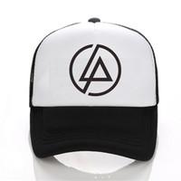 Wholesale Mesh Hip Hop Cap - Linkin Park Letters Snapback Hat Mesh Baseball Hip Hop Hat Leather Hat Snapback Hip Hop Casquette Bone Men Woman Hats
