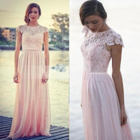 Wholesale Discount Bridesmaid Short Sleeve Dress - Pink Jewel A Line Lace Full Length Long Bridesmaid Dress Short Sleeves Chiffon Discount Spring Summer Beach Bridesmaids Formal Gowns 2016