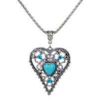 Wholesale tibetan jewelry turquoise pendant necklace - Vintage Women Love Heart Natural Turquoise Crystal Pendants Design Tibetan Silver Chain Necklace Jewelry Lady Pendant Necklaces Accessories