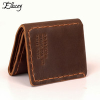 Wholesale Handmade Leather Coin Purse - Wholesale- Vintage Pure Handmade Wallets Men's Genuine Cowhide Leather Wallets Leather Short Clutch Bag Korean Men Coin Card Purses Wallet