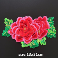 Wholesale Embroidery For Dress Accessory - Top Quality 3D Peony Embroidery Flower Patch 13*21cm Embroidered Iron On Sticker Patches For Clothes Wedding Dress Appliques DIY Accessories