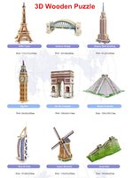 Wholesale Eiffel Tower 3d Puzzle Wood - Wholesale-Free Shipping 3D Wooden Puzzles World-Famous Building Eiffel Tower Big Ben Model Jigsaws DIY Educational Toys Gift For Kids
