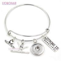 regalos de gimnasia al por mayor-Venta al por mayor Snap Jewelry I love Gymnastics Bracelet Gymnast Charm Bangle Sport Bracelet Gifts Jewelry Pulsera ajustable del botón a presión