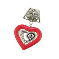 Wholesale Heart Shape Pendant Scarf - Fashion Pendants Women Scarf and Necklace Pendant Jewelry Findings Chaims Silver Alloy With Colorful Heart Shape Resin Pendant
