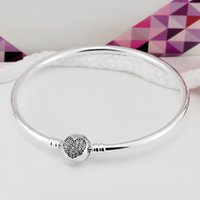 Wholesale European Clip Beads - Authenetic 925 Sterling Silver Bangle Crystal Heart Circular Clasp Clip Suitable Bracelet Fit Women DIY Charm Jewelry HKA4000
