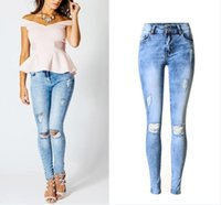 Wholesale Womens Plus Size Skinny Jeans - Plus size 44 New 2017 Hot hole ripped jeans women pants Fashion Ladies Stretchy Denim Pants Womens Skinny Jeans For Female