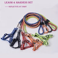 Wholesale Dog Collars Leashes Sets - Two-piece set pet supplies dog Harnesses and dog leashes with reflective material 10 colors 3 sizes wholesale free shipping