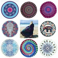 Wholesale Tablecloths Mat - Round Mandala Beach Towels 39 Styles Chiffon Printed Hippy Boho Tablecloth Bohemian Beach Towel Covers Beach Shawl Wrap Yoga Mat OOA2268