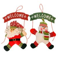 Wholesale Christmas Wreath Decorations Wholesale - new Christmas decorations present DIY Party Santa Claus Snowman Door hanging wreath cloth art ornaments high quality Party Supplie wholesale