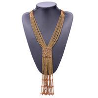 ingrosso collana dei monili del branello di tessitura-DC78 Moda 7 Colori Temperamento Perline selvatiche Collana di gioielli intrecciati a mano Collana lunga collana nappa per le donne
