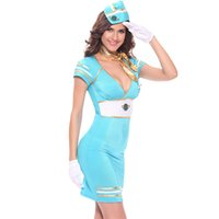 Wholesale Stewardess Halloween Costumes - Halloween Costumes Adult Women Flight Attendant Pilot Blue Stewardess Air Hostess Costume Fancy Dress Cosplay Clothing for Women