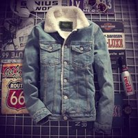 Wholesale Denim Jacket Lining - Mens Denim Jeans Jacket Coat Warm Fur Lined Lapel Collar Winter Western Cowboy Peacoats Motorcycle Outwear 2Colors Coats