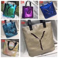 Wholesale Bright Beach - Mermaid Sequin totes Bags Mermaid Bright Handbags Glitter Sequins Totes Glow Reversible Shopping Bags Designer Fashion Beach Bags KKA1786