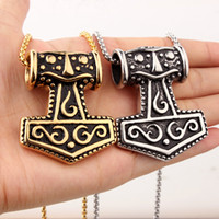 2017 Punk Boy Mens Silver / Gold 316L из нержавеющей стали Thor Viking Hammer Pendant Necklace Jewelry Accessories