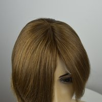 Top Unprocessed cabelo humano virgem peruca judaica europeia 10 # multidirection top straight soft blonde Kosher sheitels